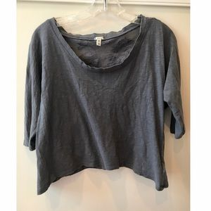 Forever 21 Gray Scoop Neck Top w Lace Back